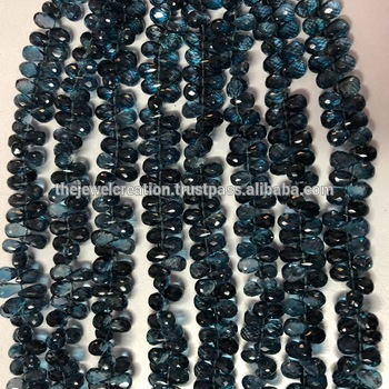 100% Natural London Blue Topaz Faceted Teardrop Beads Strand