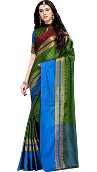 Box Printed Cotton Silk Saree