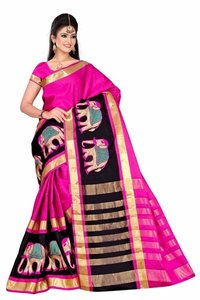 Plain Cotton Silk Saree with Elephant Embroidery Work