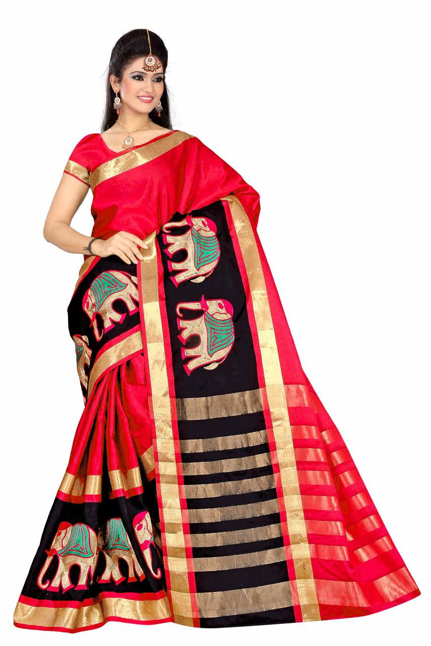 Plain Cotton Silk Saree with Elephant Embroidery Work