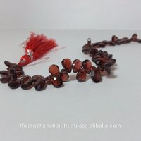 Natural Mozambique Red Garnet Faceted Pears Briolette Beads