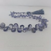 Natural Iolite Faceted Pear Shape Briolette Beads