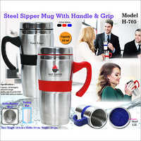 Steel Sipper Mug With Handle & Grip