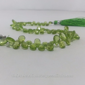 Natural Green Peridot Faceted Pears Briolette Beads