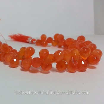 Carnelian Faceted Teardrop Beads Strand Coraline Gemstone
