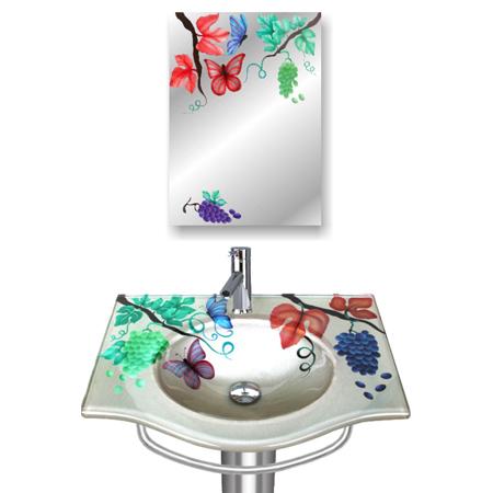 Floral Design Glass Wash Basin