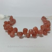 Natural Peach Moonstone Smooth Plain Teardrop Beads Briolette Drop
