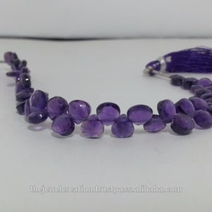 Natural African Amethyst Faceted Heart Shape Briolette Beads