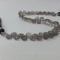 Natural Labradorite Faceted Heart Briolette Beads