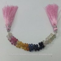 Natural Multi Sapphire Faceted Drops Beads Briolette