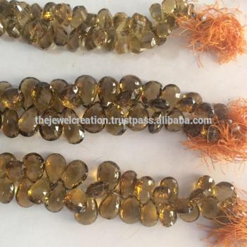 Natural Champagne Quartz Faceted Pear Shape Briolette Beads