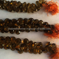 Natural Champagne Quartz Faceted Pear Shape Briolette Beads