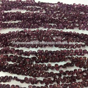 Natural Rhodolite Garnet Micro Faceted Heart Shape Briolette Gemstone Beads