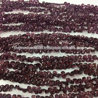 Natural Rhodolite Garnet Micro Faceted Heart Shape Briolette Gemstone Beads