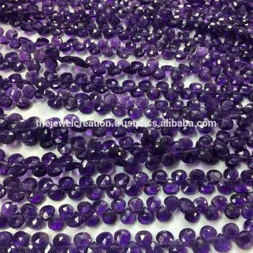Natural African Amethyst Micro Faceted Heart Shape Briolette Beads Strand Lot