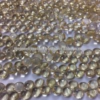 Natural Honey Quartz Micro Faceted Heart Shape Briolette Gemstone Beads