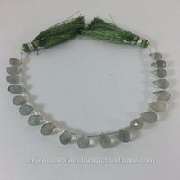 Natural Gray Moonstone Faceted Drops Beads Briolette Strand Grey