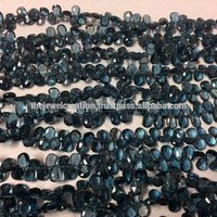 Natural London Blue Topaz Faceted Pear Shape Natural Beads