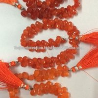 Natural AAA Carnelian Faceted Drops Beads Briolette Bead Strand