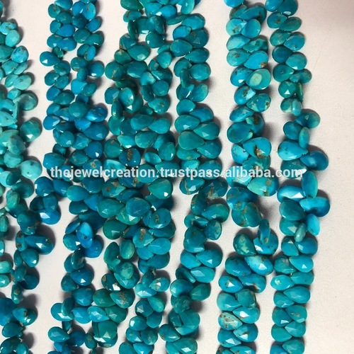 Arizona Turquoise Faceted Pear Shape Briolette Beads Strand