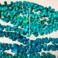 Natural Arizona Turquoise Faceted Pears Briolette Beads