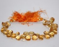 Natural Citrine Faceted Heart Beads Briolette