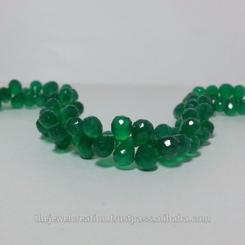 Natural Green Onyx Faceted Drops Briolette Beads Strand