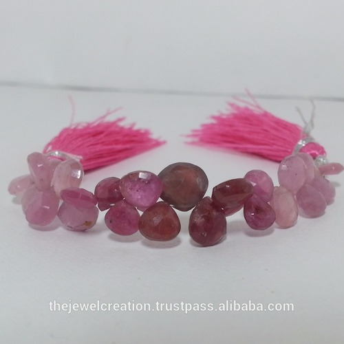 Ruby Gemstone Faceted Heart Briolette Beads Strand