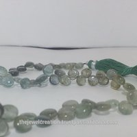 Natural Moss Aquamarine Plain Smooth Heart Briolette Beads