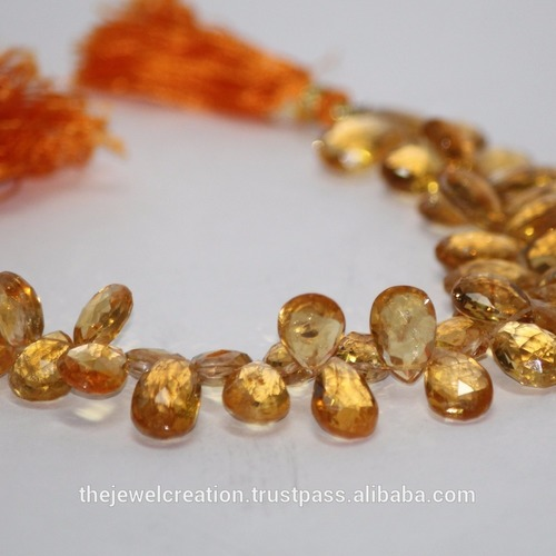 Natural Citrine Gemstone Faceted Pear Briolette Beads