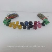 Natural Ruby Emerald Sapphire Pears Briolette Beads