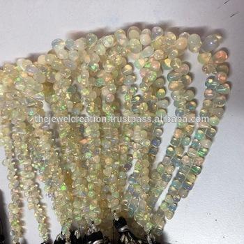 Natural Ethiopian Opal Stone Plain Drop Briolette Beads Strand