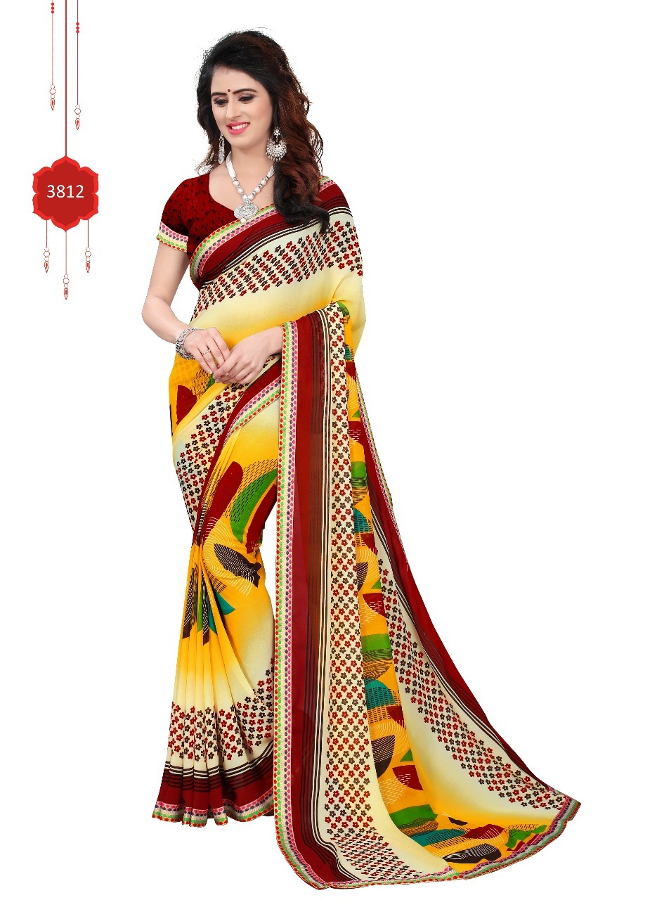 Pure Georgette Saree With Lace