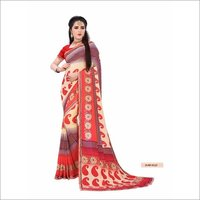 Printed Georgette Saree With Lace