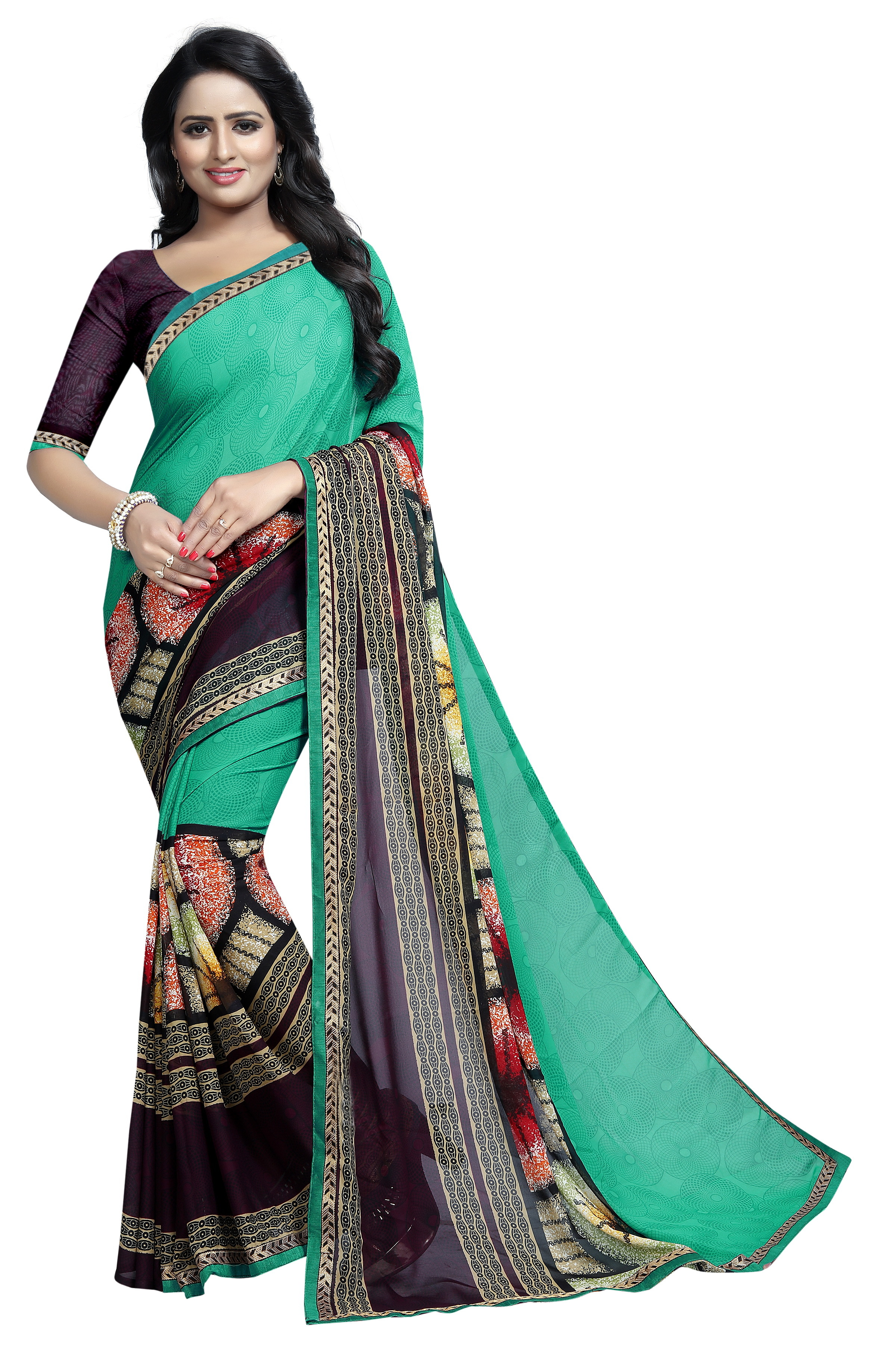 Saree Georgette With Lace