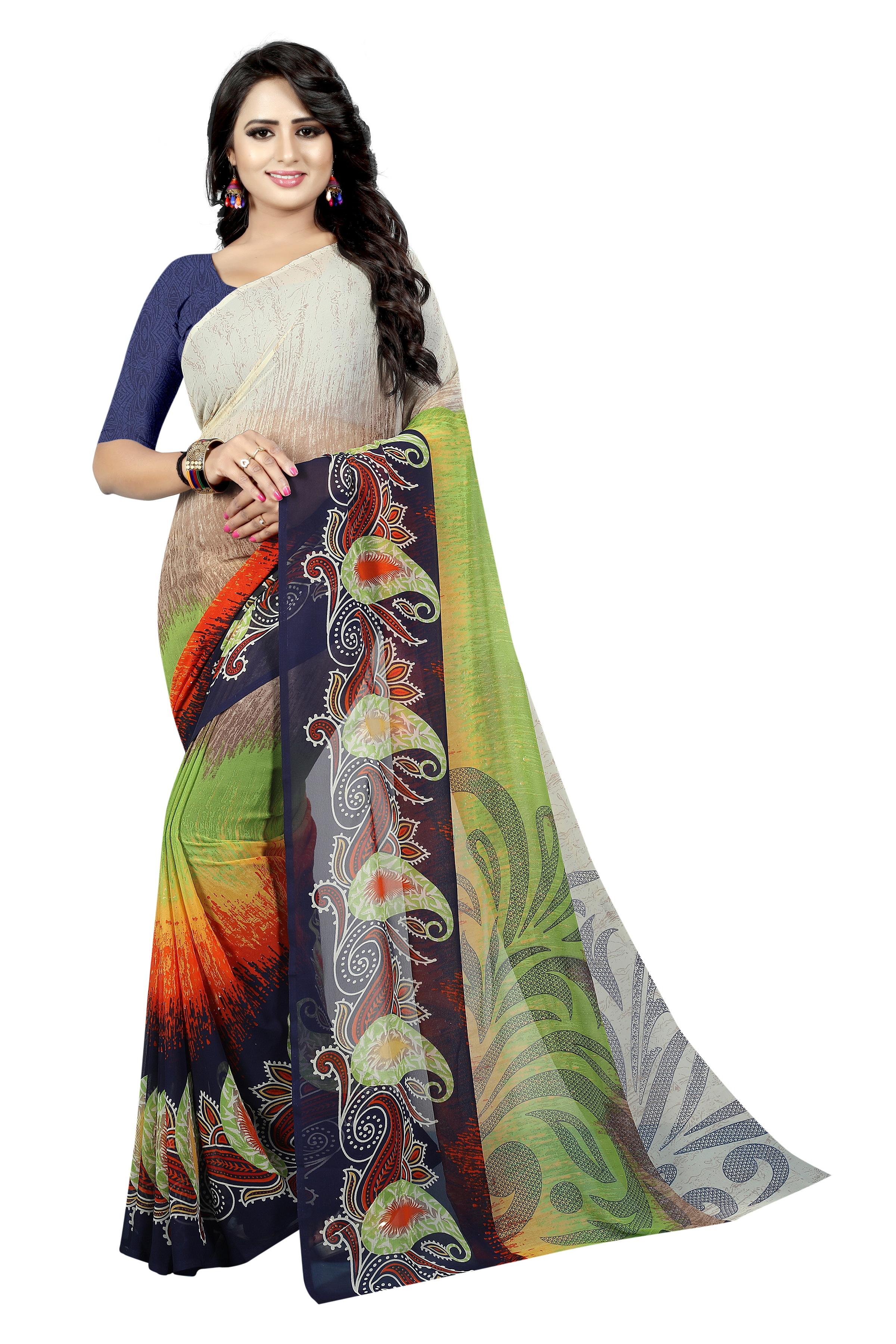 Fancy Printed Georgette Silk Saree