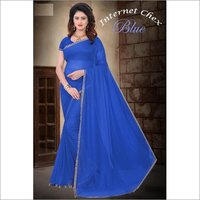 Filament Polyester Saree With Lace Border
