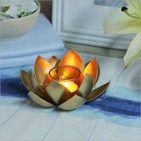 Metallic Lotus Shaped Tealight Candle Holder
