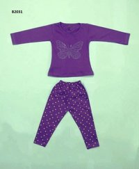 Girl tops with stone butterfly design