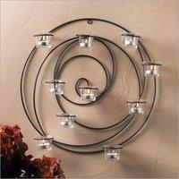 Large round circle balck Artisanal Sconce Wall mount hurricane candle holder