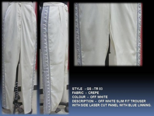 Off White Slim Fit Trouser With Side Laser Cut Panel