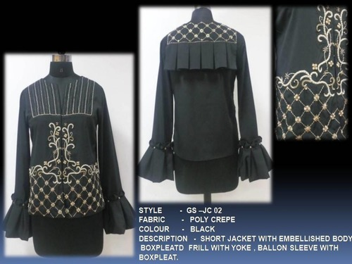 Short Jacket With Embellished Body Boxpleatd