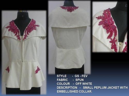 Small Peplum Jacket With Embellished Collar
