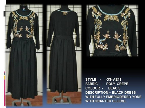 Black Dress With Fully Embroidered Yoke (Quarter Sleeve)