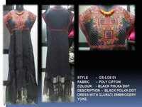 Black Polka Dot Dress With Gujrati Embriodery Yoke
