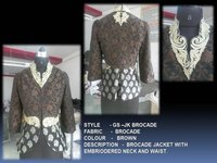 Brocade Jacket With Embriodered Neck & Waist
