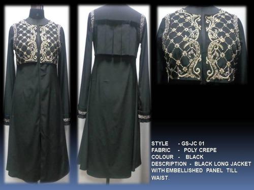 Black Long Jacket With Embellished Panel Till Waist