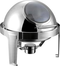 ROUN ROLL TOP CHAFING WITH VISIBLE GLASS WINDOW LID  6 Ltr