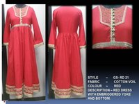Red Dress With Embriodered Yoke & Bottom