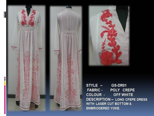 Long Crepe Dress With Laser Cut Bottom